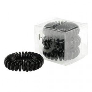 Spiralne gumice za kosu crne 3 kom