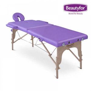 Prijenosni masažni ležaj 2 zone ljubičasti
