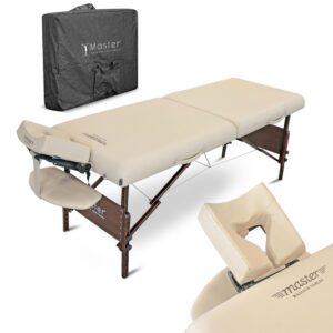 Prijenosni masažni ležaj sa grijanjem bež